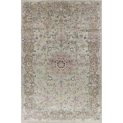 "Vintage Green Floral Kashan Persian Area Rug Handmade Oriental Carpet - 9'6"" x 14'5"""