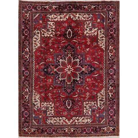 "Vintage Geometric Red Heriz Persian Area Rug Handmade Oriental Carpet - 7'0"" x 9'1"""