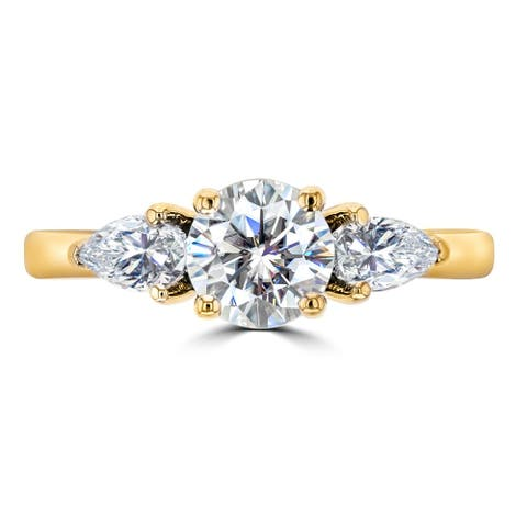 1.3ct TGW Three Stone Moissanite Round Center with Pear Cut Stones 14 Karat Yellow Gold Ring