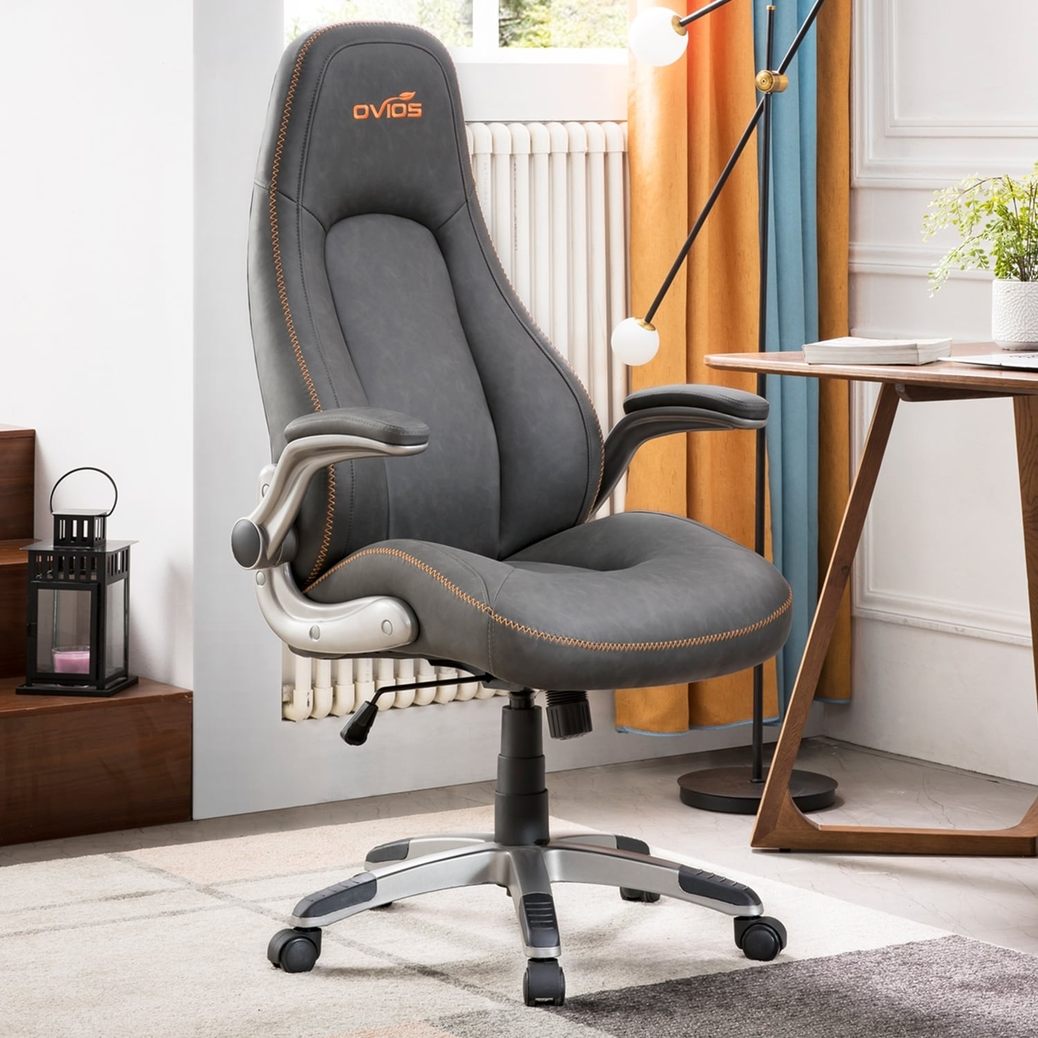 Ovios Executive Office Chair High Back Desk Chair Leather Computer Desk Chair For Home Office Dark Brown Managerial Executive Chairs Office Products