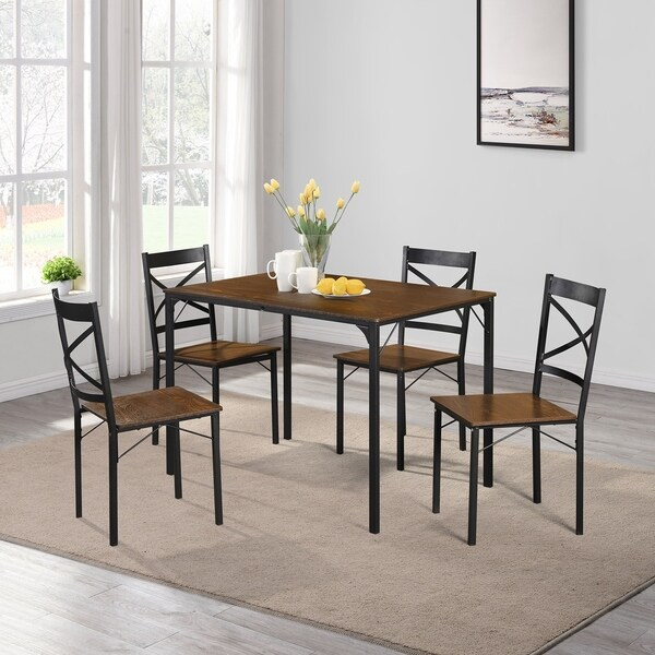 5-Piece Dining Table Set Wooden Kitchen Table and Chairs