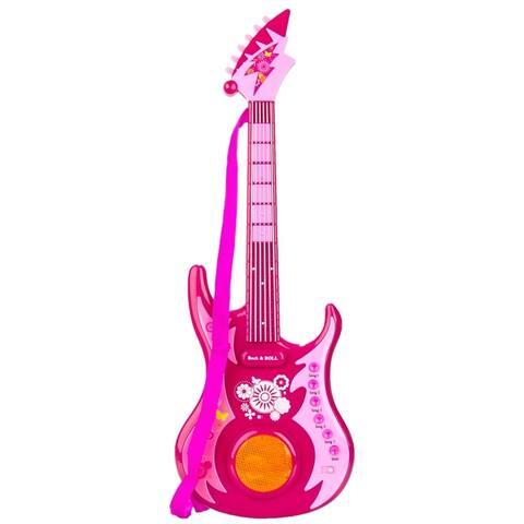 (Pink) Musical Rock n Roll Guitar Toy Set