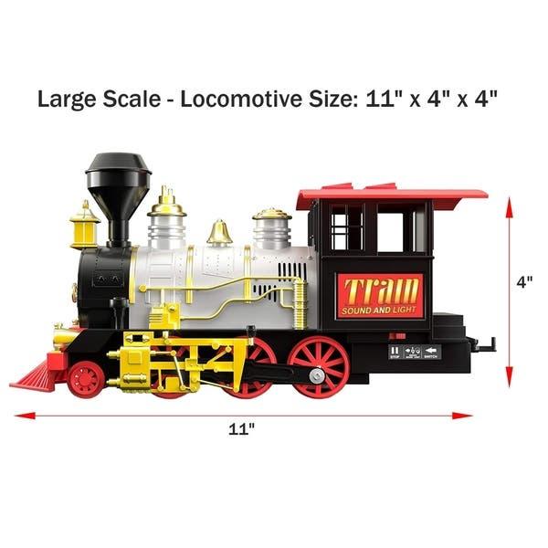 Electric Christmas Train Tracks Set Kids Toy w// Lights Sounds Smoke Around Tree