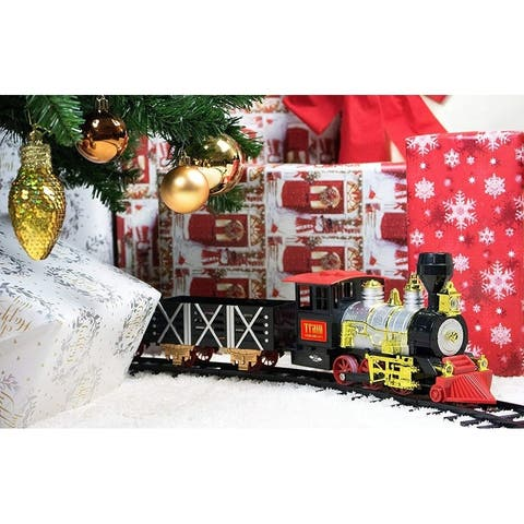 Classic Holiday Christmas Train Set for Under the Tree Lights Sounds