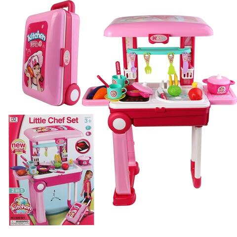 Toy Gourmet Kitchen Cooking Set Portable Fold into Luggage Trolley