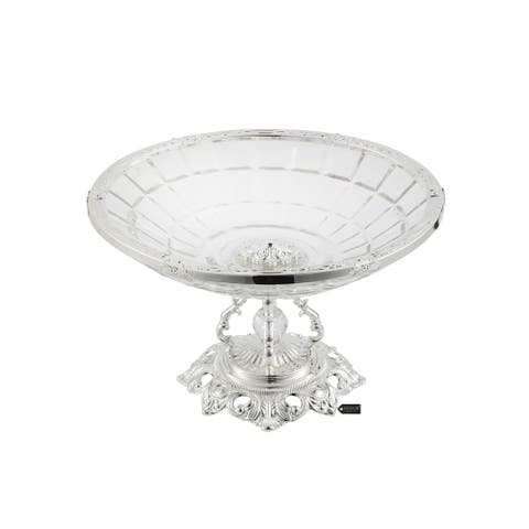 Crystal Candy Bowl, Round Serving Platter with Silver Plated Pedestal