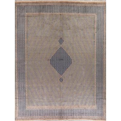"Vintage Geometric Kerman Persian Area Rug Handmade - 9'7"" x 12'7"""