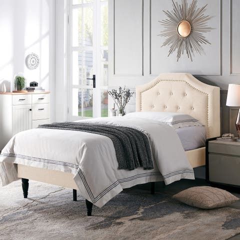 Elinor Contemporary Upholstered Twin Bed Platform by Christopher Knight Home