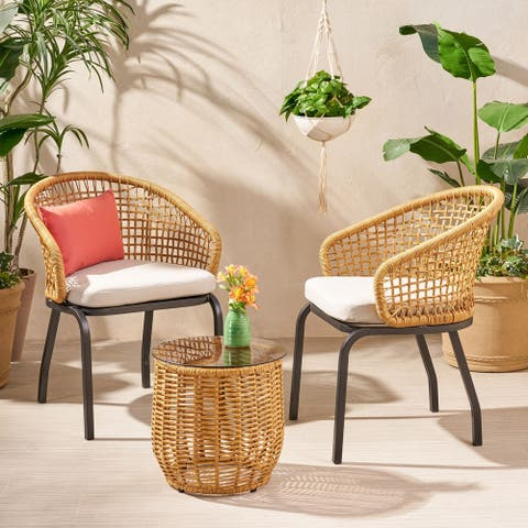 Arias Outdoor Wicker 3 Piece Chat Set with Side Table by Christopher Knight Home