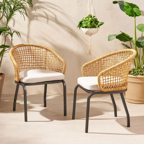 Arias Outdoor Wicker Club Chair with Cushion (Set of 2) by Christopher Knight Home