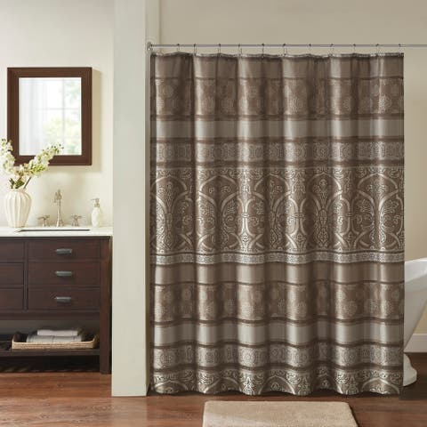 Madison Park Essentials Alexine Brown Jacquard Shower Curtain