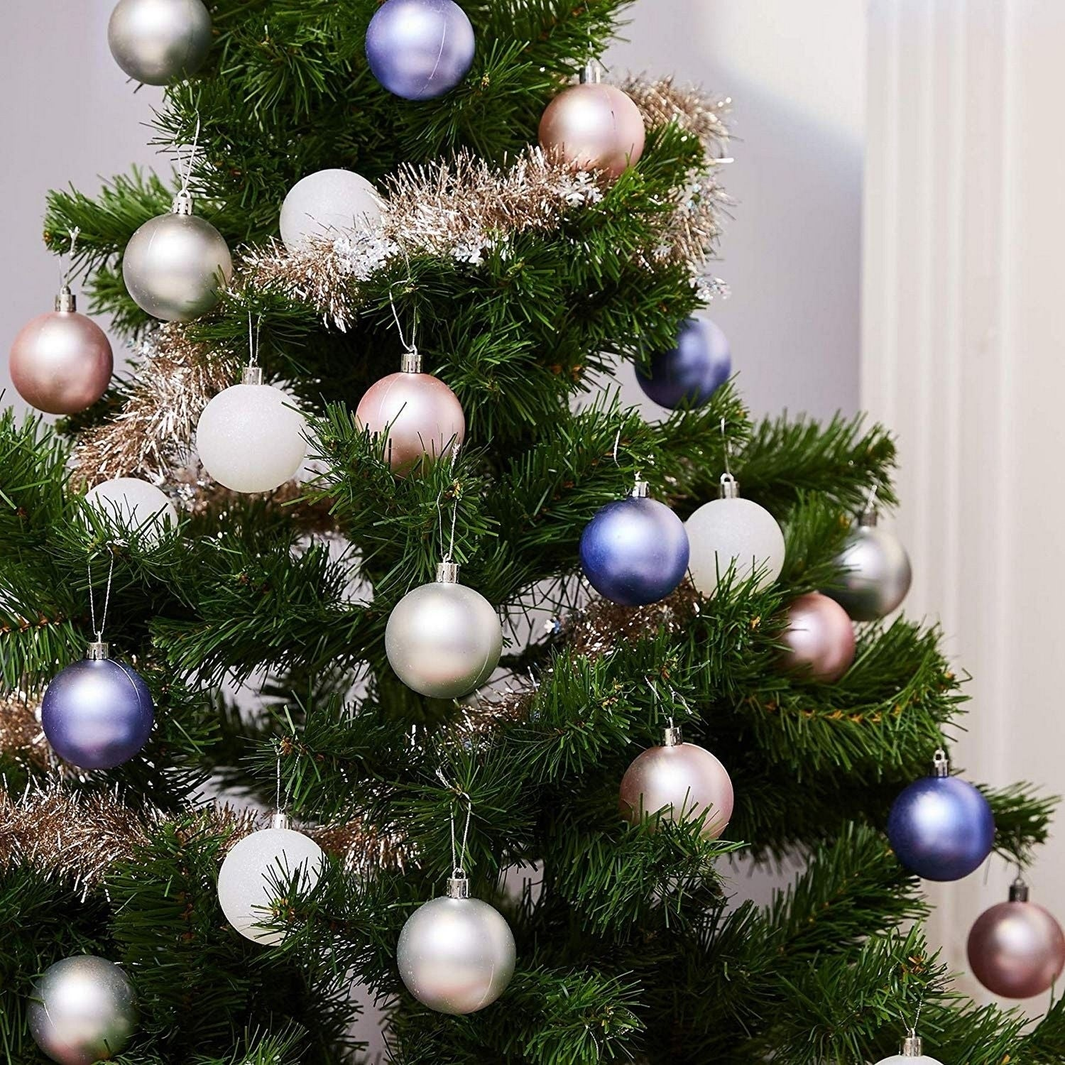 36 Pack Christmas Tree Ornament Balls Decoration 2 3 Matte Silver Pink Purple Overstock 30316343