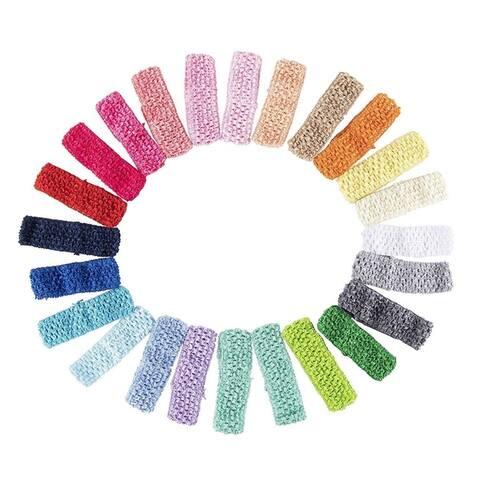 "24 Crochet Elastic Headband, Head Wraps for Women, 24 Colors, 1.625"" x 5.625"""