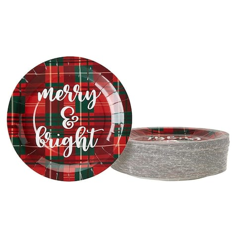 """80-Pack Disposable Paper Plates, Xmas Holiday Party Supplies, Red Green, 9"""""""