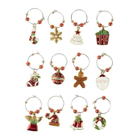 12-Pack Wine Glass Charms, Christmas Themed Wine Glass Markers, Wine Glass Tags