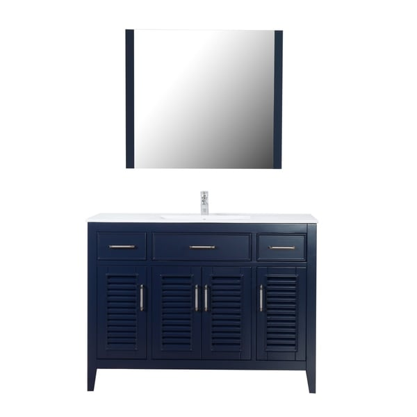 "Marina Del Rey 48"" Freestanding Vanity with Ceramic Top in Navy"