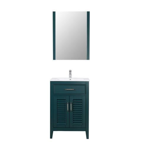 """Marina Del Rey 24"""" Freestanding Vanity with Ceramic Top in Hunter Green"""