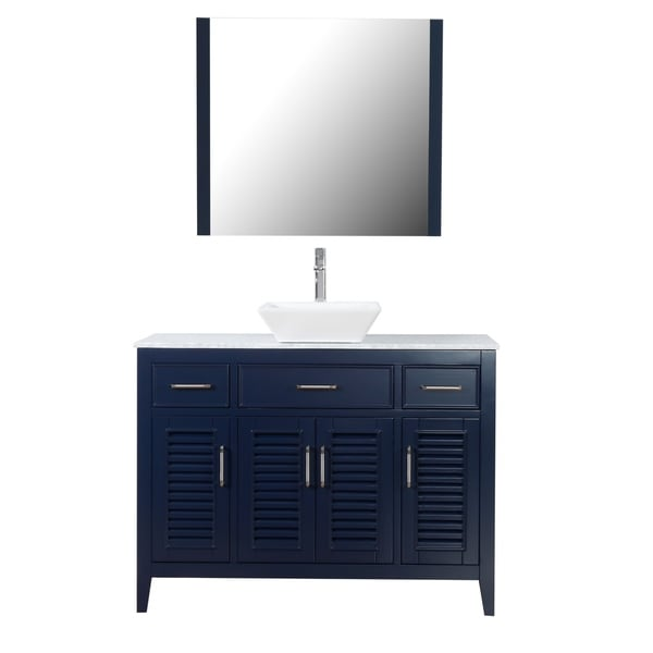 """Marina Del Rey 48"""" Freestanding Vanity with Marble Top and Ceramic Basin in Navy"""