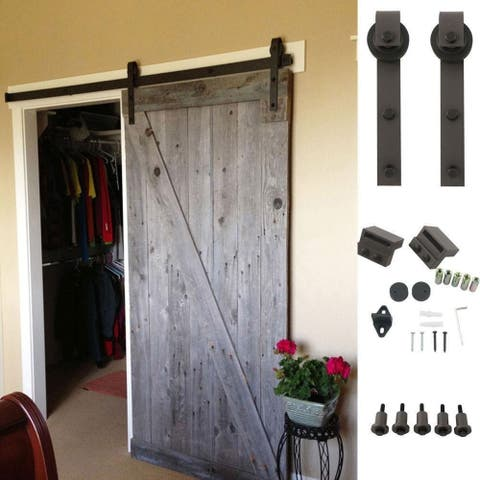 Ainfox 6.6FT Classic Rustic Sliding Barn Wood Door Hardware Track