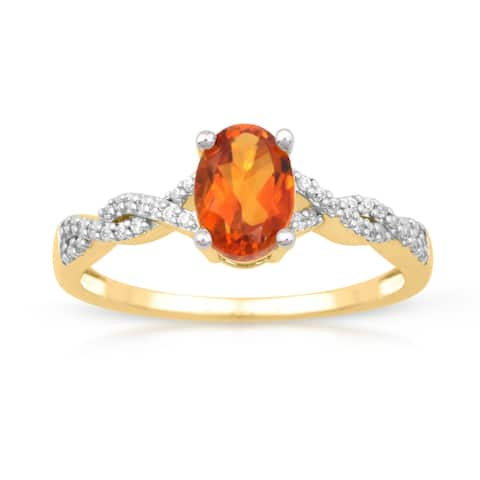 1/10ct TDW Diamond Gemstone Ring in 10k Yellow Gold