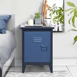Furniture R Blue Metal Storage Cabinet Nightstand