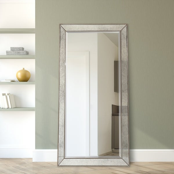 Champagne Beveled Wall Mirror Rectangle Leaner,Bathroom,Bedroom,Living Room - Clear - 40 in. x 80 in. x 2.6 in.