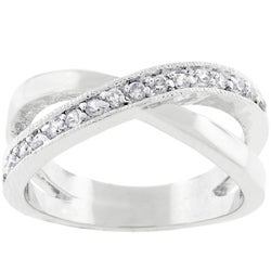 Kate Bissett Silvertone Criss-cross CZ Ring