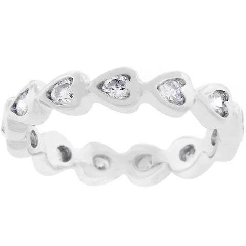 Kate Bissett Silvertone Heart Eternity Stackable Cubic Zirconia Ring
