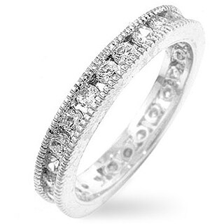 Kate Bissett Silvertone Vintage Stackable Cubic Zirconia Eternity Band