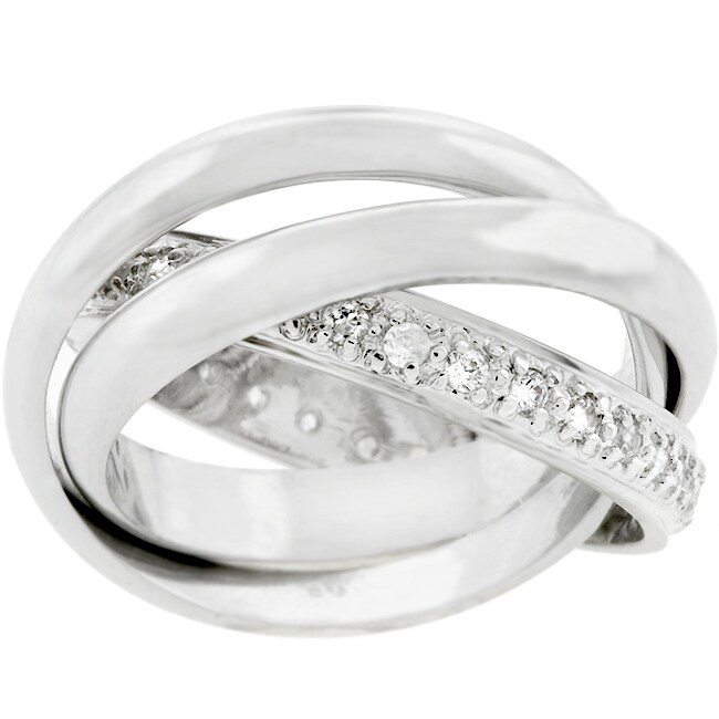 Kate Bissett Silvertone Triple Band Pave CZ Eternity Ring - Thumbnail 0