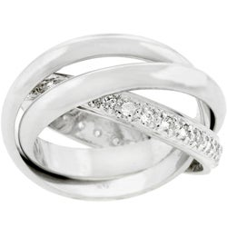 Kate Bissett Silvertone Triple Band Pave CZ Eternity Ring