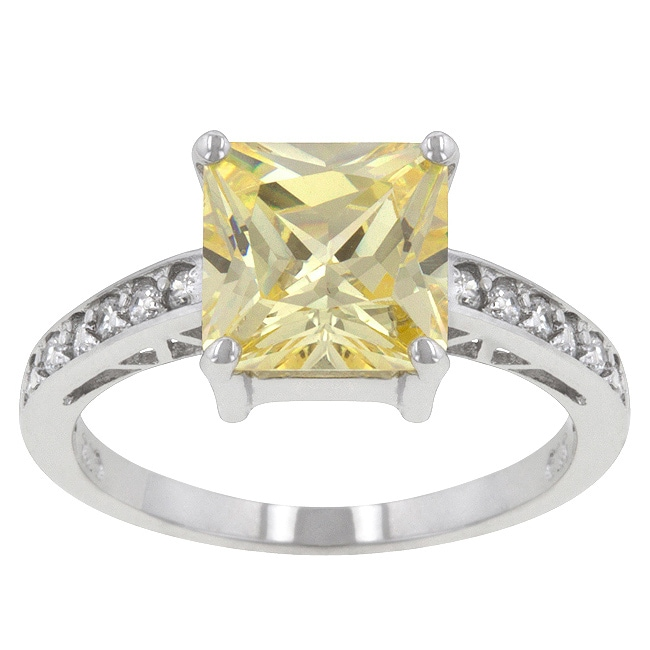 Kate Bissett Sterling Silver Yellow Cubic Zirconia Ring