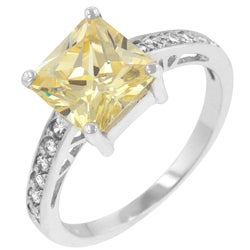 Kate Bissett Sterling Silver Yellow Cubic Zirconia Ring - Thumbnail 1