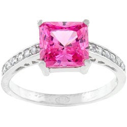 Kate Bissett Sterling Silver Pink Princess-cut CZ Ring