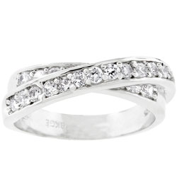 Kate Bissett Silvertone CZ Criss-cross Eternity Band (2 options available)