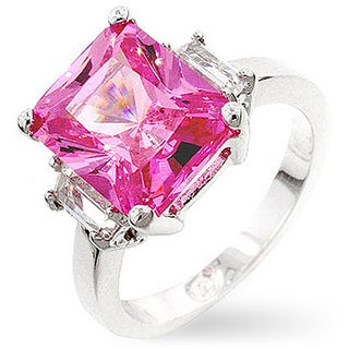 Kate Bissett Silvertone Pink Emerald-cut Cubic Zirconia Ring