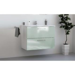"32"" Happy Modern Bathroom Vanity / Green / 32  x 24 x 18 Inch Vanity, Ceramic Top and Mirror / 2 Drawers"