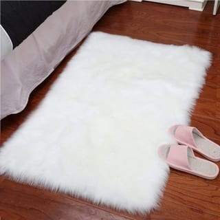 Lochas Super Soft Shaggy Faux Sheepskin Area Rugs for Bedroom
