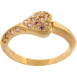 Kate Bissett Coppertone Heart Pink Pave Cubic Zirconia Ring
