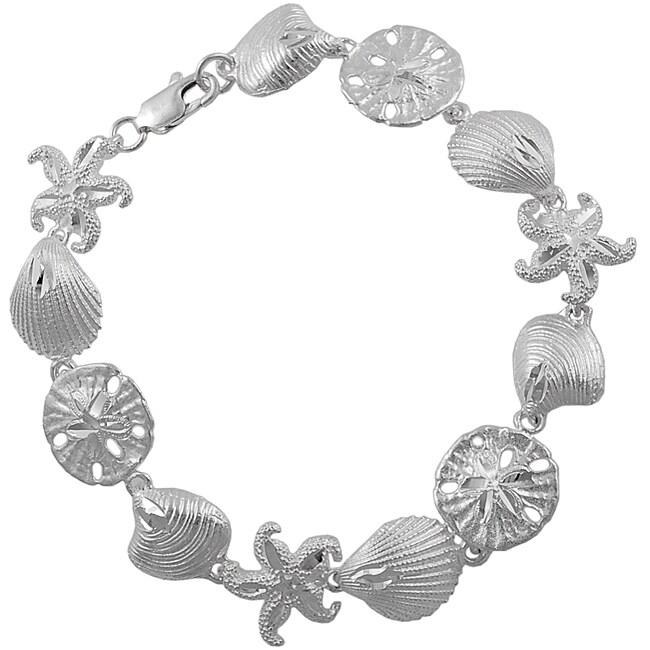 Journee Collection  Sterling Silver Sea Shell Link Bracelet