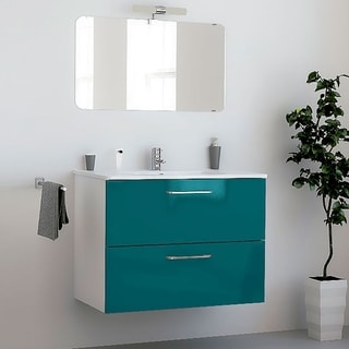 "32"" Happy Modern Bathroom Vanity / Blue / 32  x 24 x 18 Inch Vanity, Ceramic Top and Mirror / 2 Drawers"