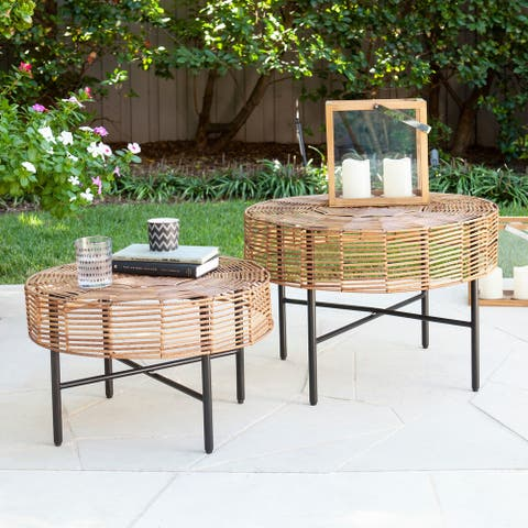 Mellie Contemporary Natural Woven Fiber Tables (Set of 2) by Havenside Home
