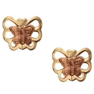 Junior Jewels 10k Two-tone Gold Butterfly Stud Earrings