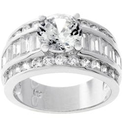 Kate Bissett Silvertone Round-cut Bridal-inspired CZ Ring