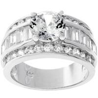 Kate Bissett Silvertone Round-cut Bridal-inspired CZ Ring