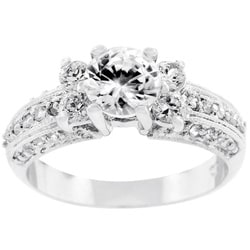 Kate Bissett Silvertone 5-stone Pave Cubic Zirconia Ring