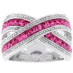 Kate Bissett Silvertone Criss-cross Pink Cubic Zirconia Ring