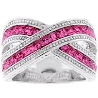 Kate Bissett Silvertone  Criss-cross Pink Cubic Zirconia Ring