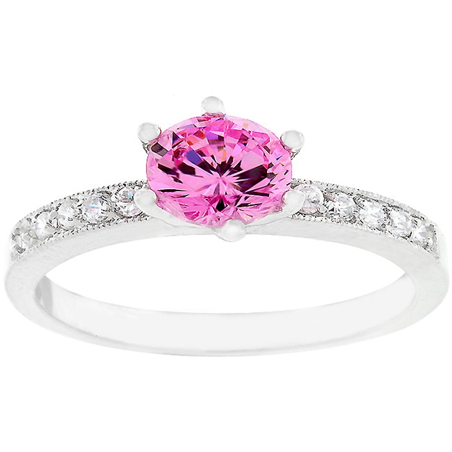 Kate Bissett Silvertone Pink Cubic Zirconia Ring