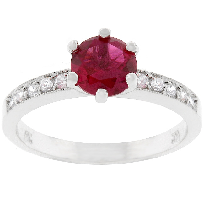 Kate Bissett Silvertone Promise Red Cubic Zirconia Ring